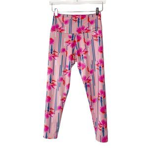 Onzie Flow Leggings Pink Palm Trees Sz M/L